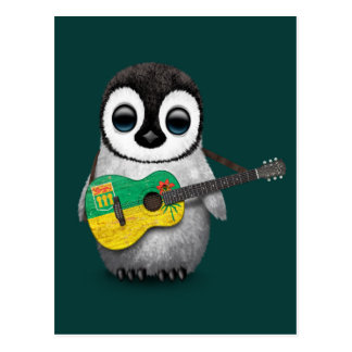 Carte Postale Pingouin de bébé jouant la guitare Teal de drapeau
