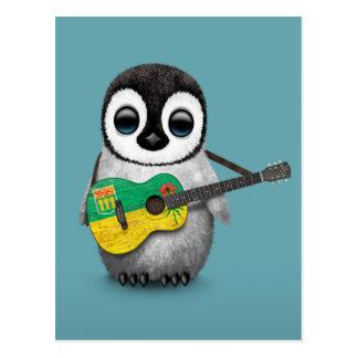 Carte Postale Pingouin de bébé jouant le bleu de guitare de