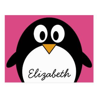 Carte Postale pingouin mignon de bande dessinée avec l'arrière -