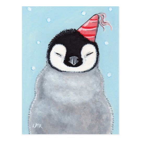 carte postale cute baby penguin wearing a party hat painting. Black Bedroom Furniture Sets. Home Design Ideas