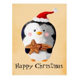 Carte Postale Pingouin mignon de Noël