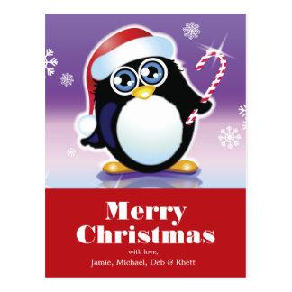 Carte Postale Pingouin utilisant le casquette de Père Noël,