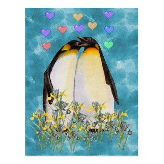 Carte Postale Pingouins de Saint-Valentin