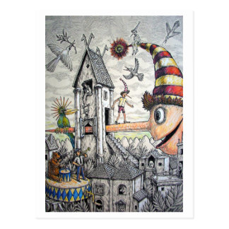Carte Postale Pinocchio drôle