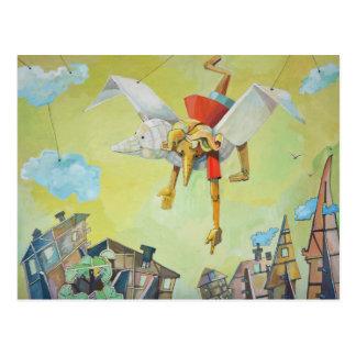 Carte Postale Pinocchio sur le pigeon