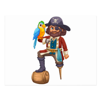 Carte Postale Pirate et perroquet