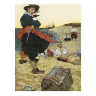 Carte Postale Pirates vintages, William Kidd enterrant le trésor