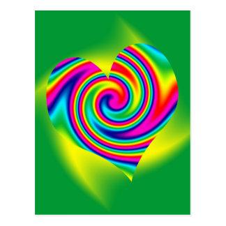 Carte Postale Pirouette en forme de coeur d'arc-en-ciel