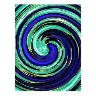Carte Postale Pirouette turquoise bleue de vortex en spirale de