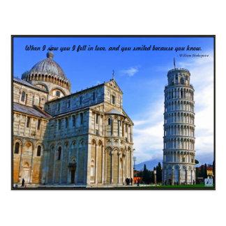 Carte Postale Pise la tour penchée avec la citation d'amour