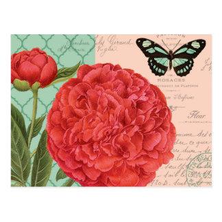 Carte Postale Pivoine et papillon vintages modernes