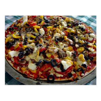 Carte Postale Pizza, avec du feta, olives, poivron