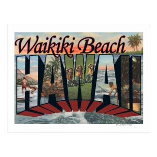 Carte Postale Plage de Waikiki, Hawaï - grandes scènes de lettre