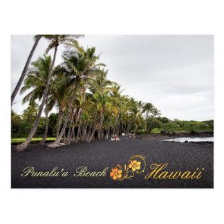 Carte Postale Plage noire de sable de Punaluu, Hawaï