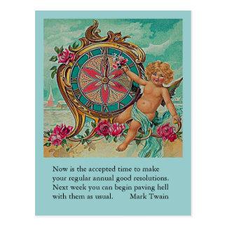 Carte Postale plaisanterie de nouvelle année de Mark Twain
