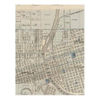 Carte Postale Plan de Des Moines, le comté de Polk, Iowa