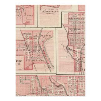 Carte Postale Plan de la ville de Cambridge, Wayne Co avec