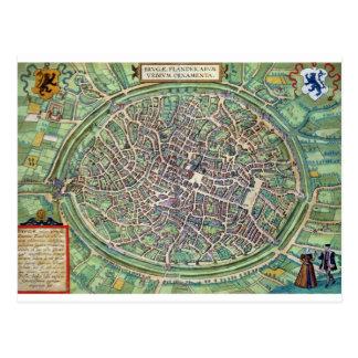 Carte Postale Plan de ville de Bruges, de 'Civitates Orbis