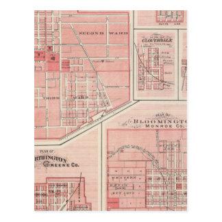 Carte Postale Plan du château vert, Putnam Co avec Bloomington