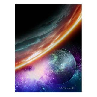 Carte Postale Planète et sa lune. Illustration d'ordinateur d'