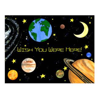 Carte Postale Planètes et espace heureux