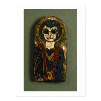 Carte Postale Plaque arrondie, dépeignant le Christ ou un saint,
