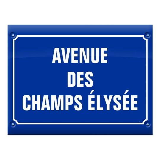 carte postale plaque avenue des champs elys es france. Black Bedroom Furniture Sets. Home Design Ideas
