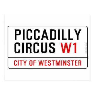 Carte Postale Plaque de rue de cirque de Piccadilly