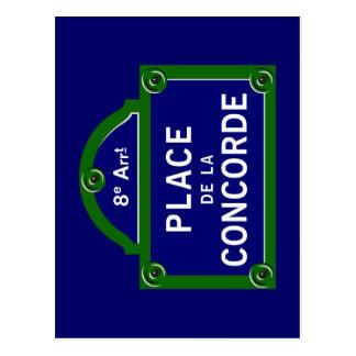 Carte Postale Plaque de rue de Place de la Concorde, Paris