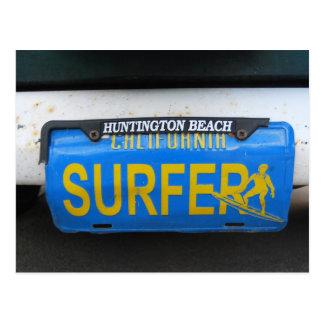 Carte Postale Plaque minéralogique de surfer de la Californie