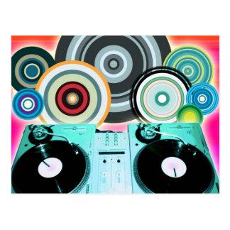 Carte Postale Plaque tournante du DJ avec du vinyle - art de