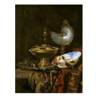 Carte Postale Plat de cuvette de Holbein, de tasse de Nautilus,