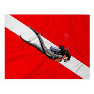 Carte Postale Plongeur et drapeau froissé de piqué