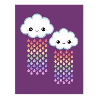 Carte Postale Pluie d'arc-en-ciel de Kawaii