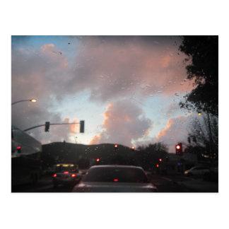 Carte Postale Pluie Falliing au coucher du soleil dans San Luis