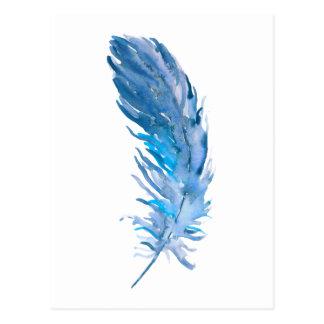 Carte Postale Plume de bleu de Boho d'aquarelle