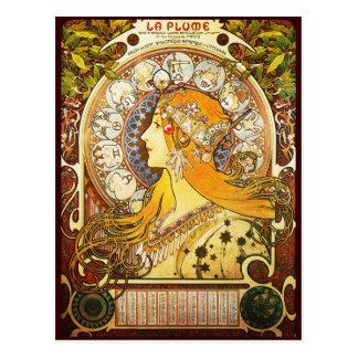 Carte Postale Plume de La d'Alphonse Mucha