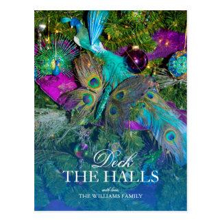 Carte Postale Plume de paon et décorations colorées d'arbre
