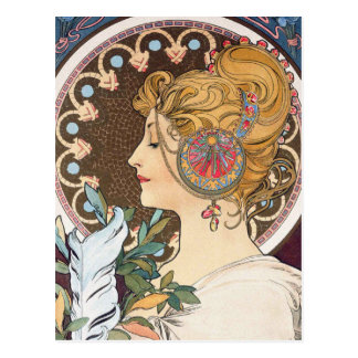 Carte Postale Plume par Alphonse Mucha - art vintage Nouveau