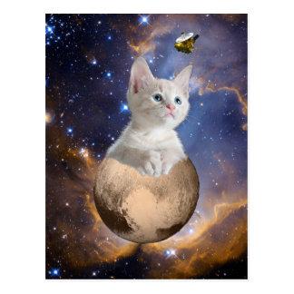 Carte Postale Pluton, chaton, et New Horizons, nébuleuse et