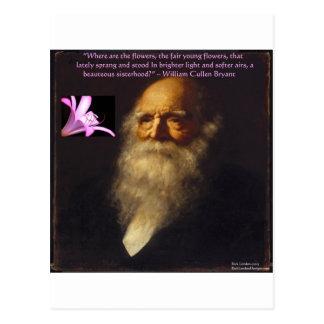Carte Postale Poème de fleur de William Cullen Bryant