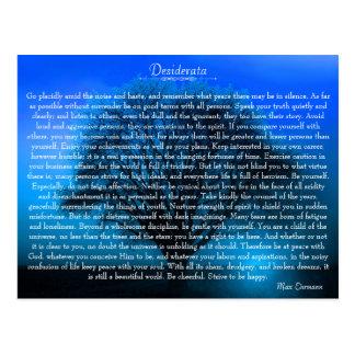Carte Postale Poème inspiré de desiderata avec l'arbre mystique