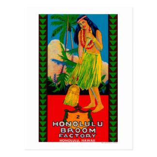 Carte Postale Poignée LabelHonolulu, HI de balai de Honolulu
