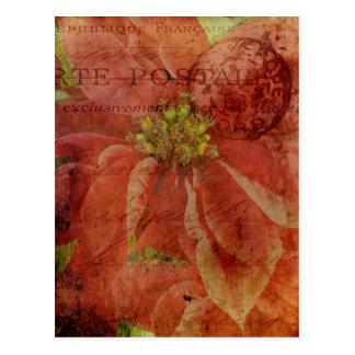 Carte Postale Poinsettia texturisée de Noël avec le cachet de la