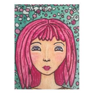 Carte postale pointillée de fille