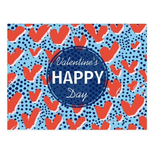Carte Postale Points de bleu de la heureuse Sainte-Valentin | et