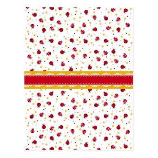Carte Postale Points noirs blancs rouges girly mignons de