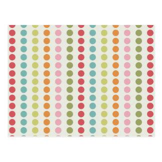 Carte Postale Pois coloré d'amusement aligné dans les rangées