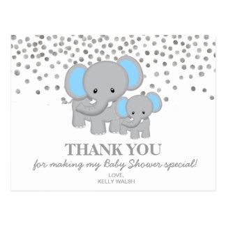 Carte Postale Pois de note de Merci de baby shower d'éléphant