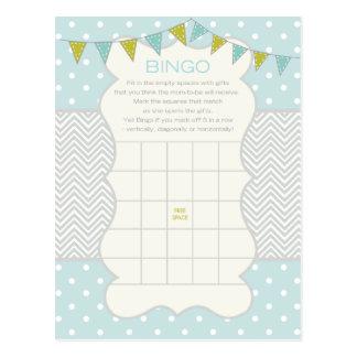 Carte Postale Pois et bingo-test de baby shower de Chevron